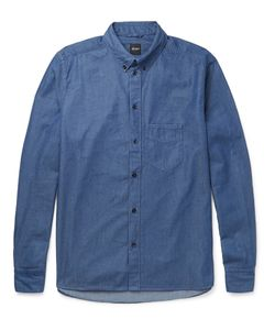 Albam | Button-Down Collar Cotton Shirt Blue