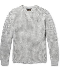 Beams Plus | Waffle-Knit Cotton-Blend Sweater Gray