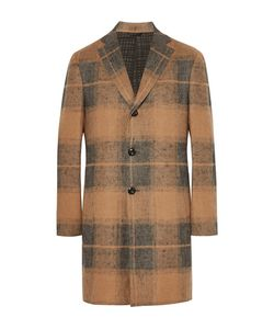 Eidos | Slim-Fit Checked Linen And Camel Hair-Blend Coat