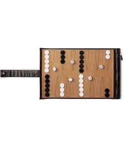 Smythson | Mara Croc-Effect Leather And Suede Travel Backgammon Set