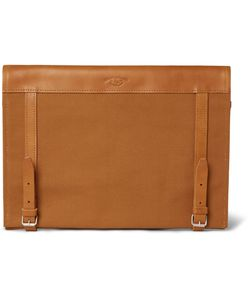 Atelier de L'Armée | Leather-Trimmed Cotton-Canvas Portfolio Brown