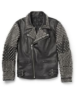 Blackmeans | Studded Leather Biker Jacket Black