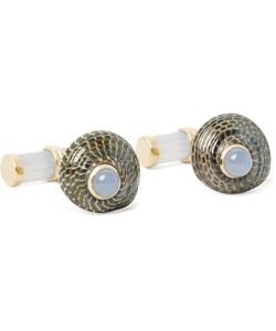 Trianon | 18-Karat Gold Shell And Chalcedony Cufflinks Gold