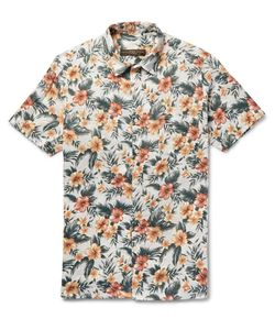 Freemans Sporting Club | Floral-Print Linen Shirt Green