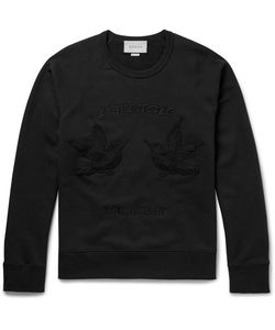 Gucci | Hummingbird Embroidered Loopback Cotton-Jersey Sweater Black