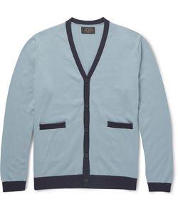Beams Plus | Slim-Fit Contrast-Trimmed Cotton Cardigan Blue