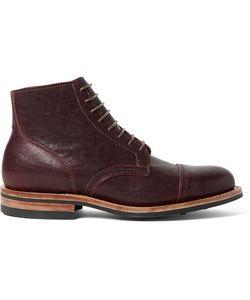 Viberg | Service Leather Brogue Boots Burgundy