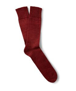 Marwood | Mohair-Blend Socks Burgundy