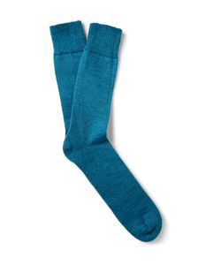 Marwood | Mohair-Blend Socks Blue