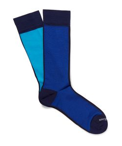 Marcoliani | In Out Pima Cotton-Blend Extra-Long Socks Blue