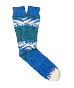 Anonymous Ism | Patterned Cotton-Blend Socks Blue