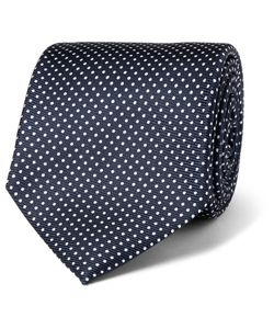 Drake's | 8cm Polka-Dot Silk-Twill Tie Blue