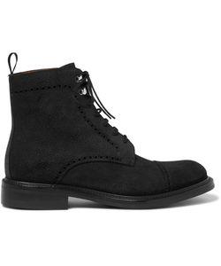 O'Keeffe | Felix Pebble-Grain Nubuck Brogue Boots Black
