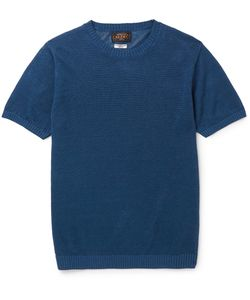 Beams Plus | Slim-Fit Knitted Linen T-Shirt Blue