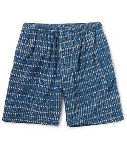 Beams Plus | Printed Cotton Shorts Blue