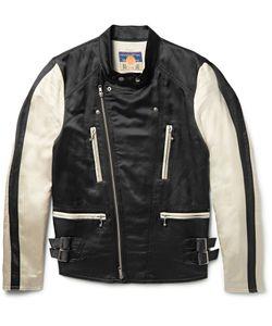Blackmeans | Two-Tone Satin Biker Jacket Black