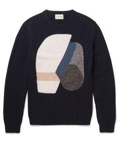 Solid Homme | Intarsia Wool-Blend Sweater Blue