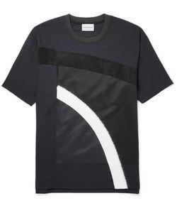Solid Homme | Suede-Trimmed Appliquéd Wool-Blend Jersey T-Shirt Black