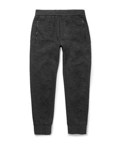 Solid Homme | Tapered Mélange Wool And Cotton-Blend Sweatpants Gray