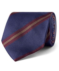 Drake's | 8cm Striped Silk-Twill Tie Blue