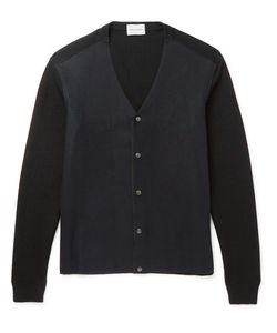 Solid Homme | Two-Tone Wool-Blend Cardigan Blue