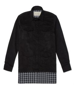 CASELY-HAYFORD | Stanley Plaid-Panelled Corduroy Shirt Black