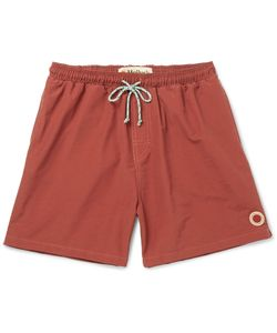 MOLLUSK | Vacation Mid-Length Cotton-Blend Swim Shorts Red