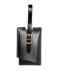 Tarnsjo Garveri   Perforated Leather Luggage Tag Black