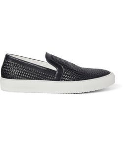 ARMANDO CABRAL | Woven Leather Slip-On Sneakers Blue