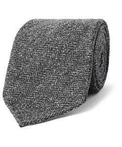Drake's | 8cm Herringbone Silk Tie Gray