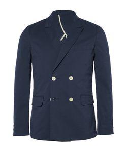 Beams Plus | Blue Slim-Fit Double-Breasted Seersucker Blazer Blue