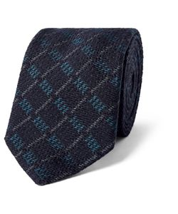 Marwood | 7cm Checked Silk And Wool-Blend Tie Blue