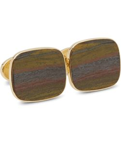 Trianon | 18-Karat Gold Tiger Iron Cufflinks Silver
