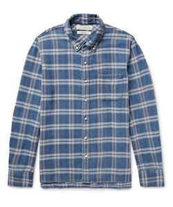 Remi Relief | Button-Down Collar Checked Cotton-Flannel Shirt Blue