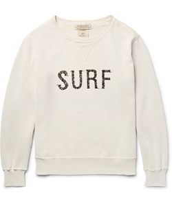 Remi Relief | Printed Distressed Loopback Cotton-Jersey Sweatshirt Neutrals