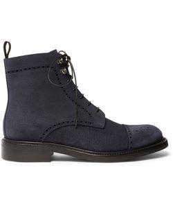O'Keeffe | Felix Pebble-Grain Suede Brogue Boots Blue