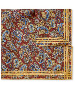 Turnbull & Asser | Paisley-Print Silk-Twill Pocket Square Burgundy