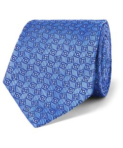 Turnbull & Asser | 8cm Silk-Jacquard Tie Blue