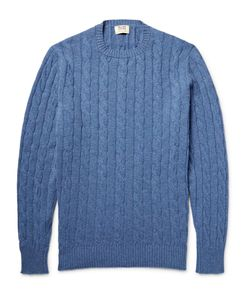 William Lockie | Orwell Cable-Knit Mélange Cashmere Sweater Blue