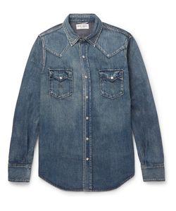 Saint Laurent | Slim-Fit Washed-Denim Western Shirt Blue