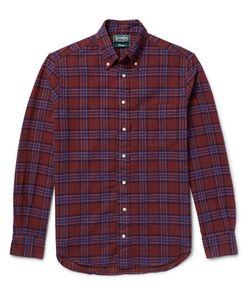 Gitman Vintage | Slim-Fit Button-Down Collar Checked Cotton-Flannel Shirt Burgundy
