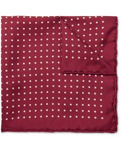 Emma Willis | Polka-Dot Printed Silk Pocket Square Burgundy