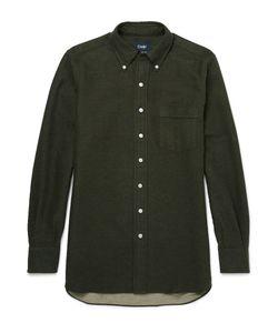 Drake's | Button-Down Collar Brushed-Cotton Shirt Green