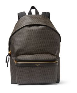 Saint Laurent | Leather-Trimmed Monogrammed Canvas Backpack