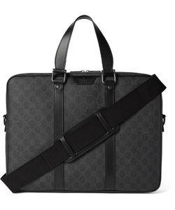 Gucci | Leather-Trimmed Monogrammed Coated Canvas Briefcase