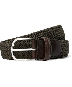 ANDERSON'S | 3.5cm Dark-Green Leather-Trimmed Woven Elasticated Belt