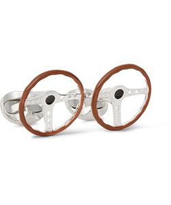 Deakin & Francis | Steering Wheel Enamelled Sterling Silver Cufflinks