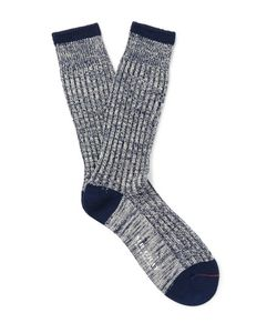 Mr. Gray | Marled Stretch Cotton-Blend Socks