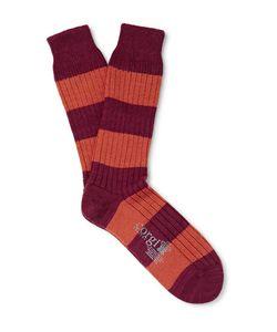 Corgi | Striped Woo And Cotton-Bend Socks