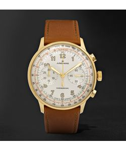 Junghans | Meister Telemeter Chronoscope Gold-Tone And Leather Watch